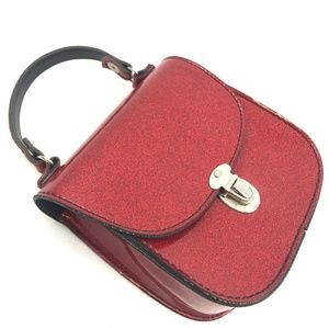 Vintage Bags - Red Glitter Structured Crossbody Bag Made in USA
